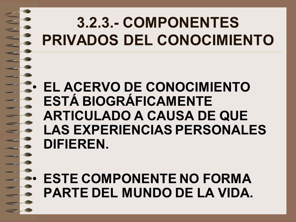 3.2.3.- COMPONENTES PRIVADOS DEL CONOCIMIENTO