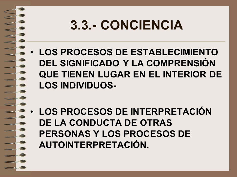 3.3.- CONCIENCIA LOS PROCESOS DE ESTABLECIMIENTO DEL SIGNIFICADO Y LA COMPRENSIÓN QUE TIENEN LUGAR EN EL INTERIOR DE LOS INDIVIDUOS-