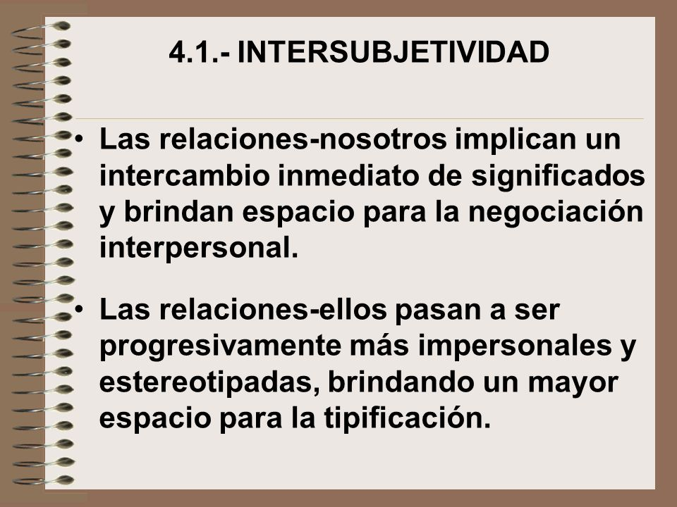 4.1.- INTERSUBJETIVIDAD