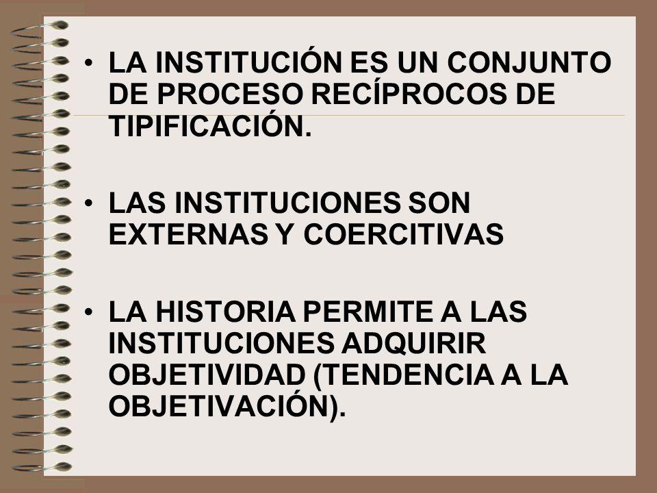 LA INSTITUCIÓN ES UN CONJUNTO DE PROCESO RECÍPROCOS DE TIPIFICACIÓN.