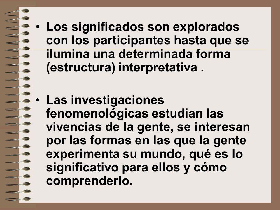 Los significados son explorados con los participantes hasta que se ilumina una determinada forma (estructura) interpretativa .