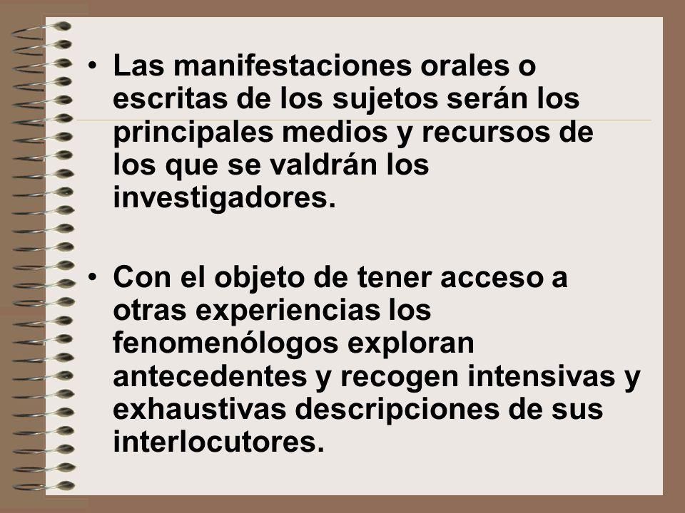 Las manifestaciones orales o escritas de los sujetos serán los principales medios y recursos de los que se valdrán los investigadores.