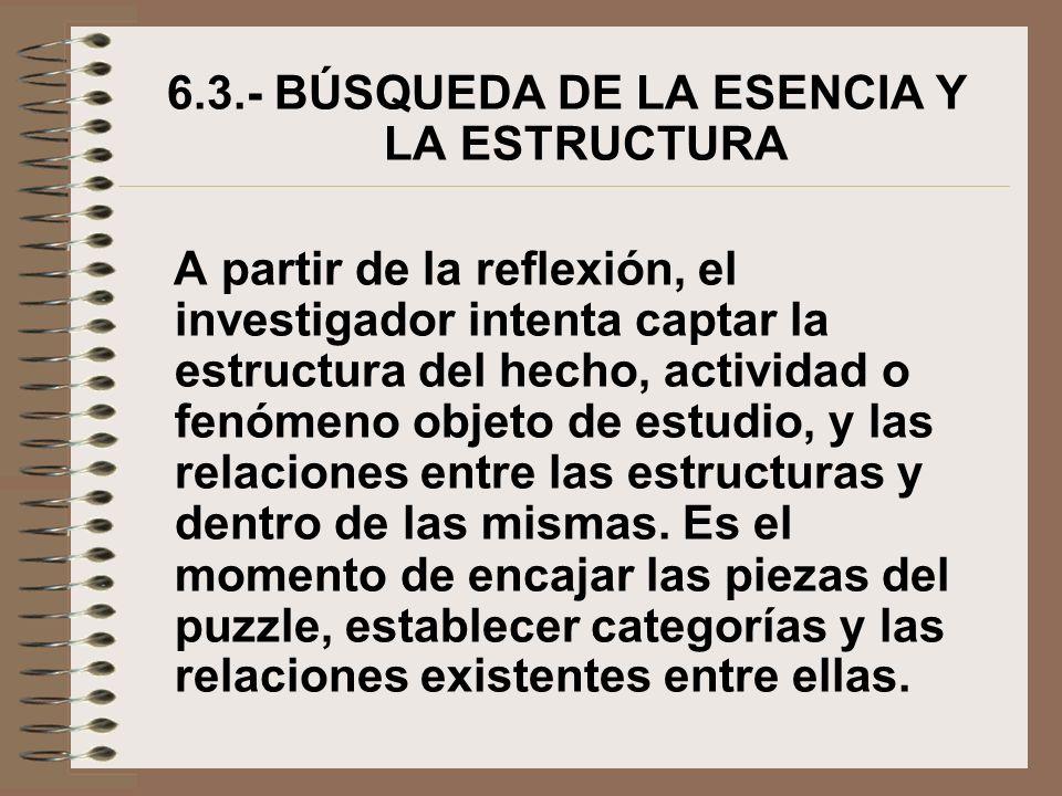 6.3.- BÚSQUEDA DE LA ESENCIA Y LA ESTRUCTURA