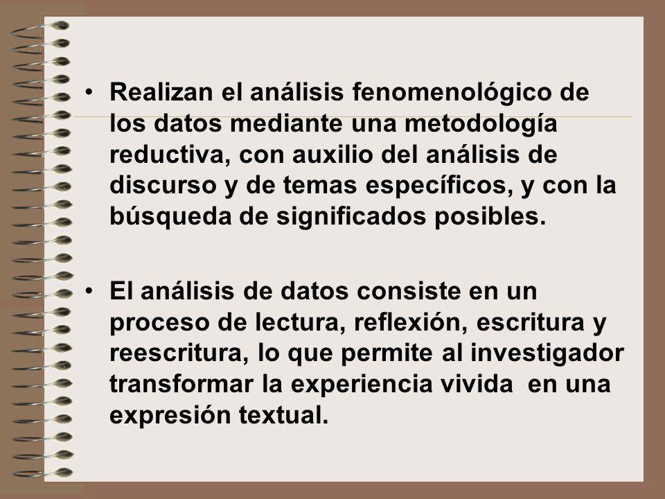 Realizan el análisis fenomenológico de los datos mediante una metodología reductiva, con auxilio del análisis de discurso y de temas específicos, y con la búsqueda de significados posibles.