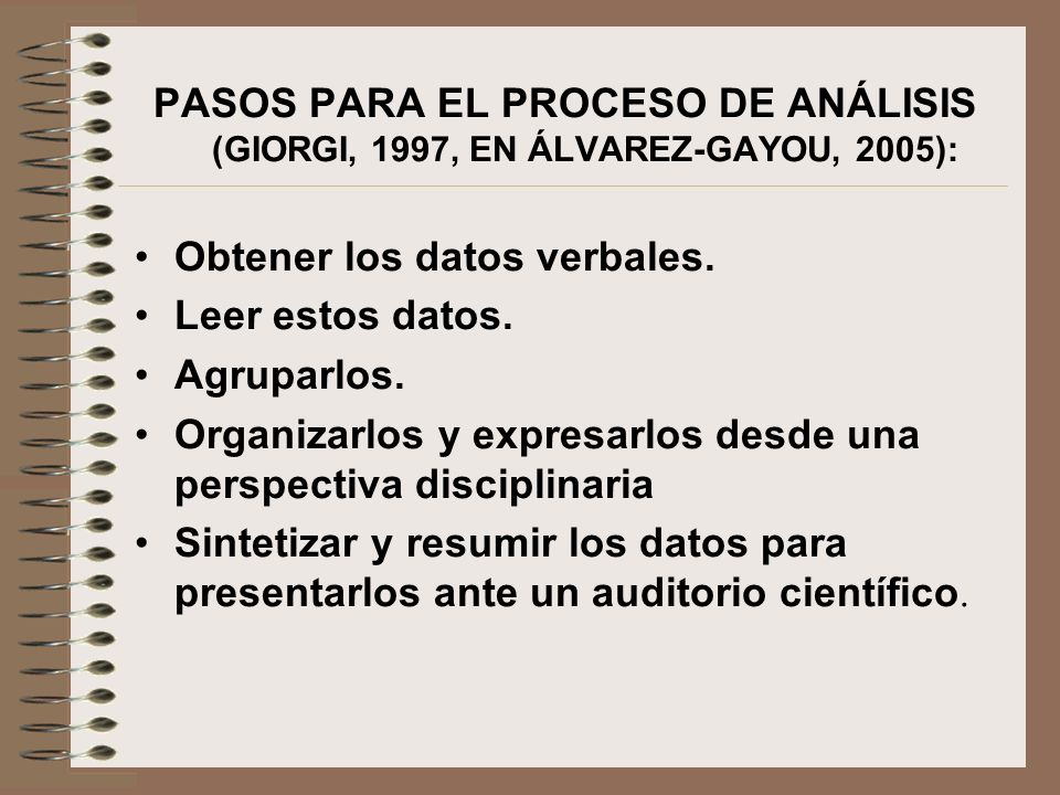 PASOS PARA EL PROCESO DE ANÁLISIS (GIORGI, 1997, EN ÁLVAREZ-GAYOU, 2005):