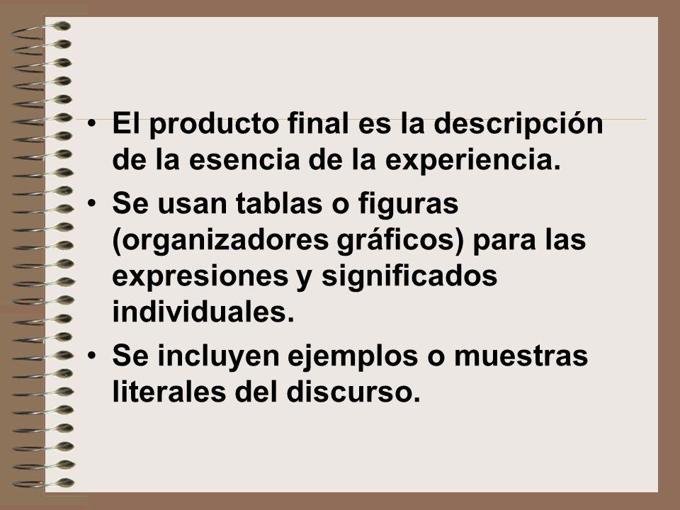 El producto final es la descripción de la esencia de la experiencia.