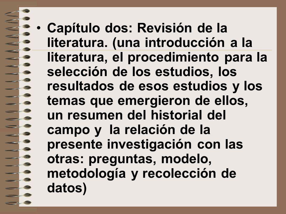 Capítulo dos: Revisión de la literatura