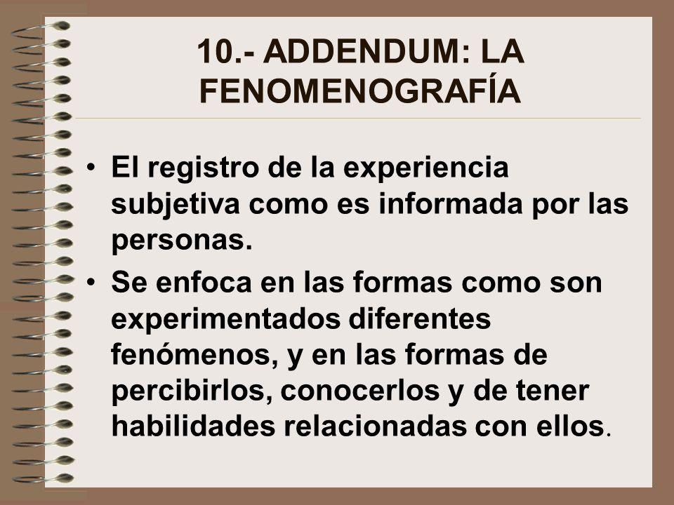 10.- ADDENDUM: LA FENOMENOGRAFÍA