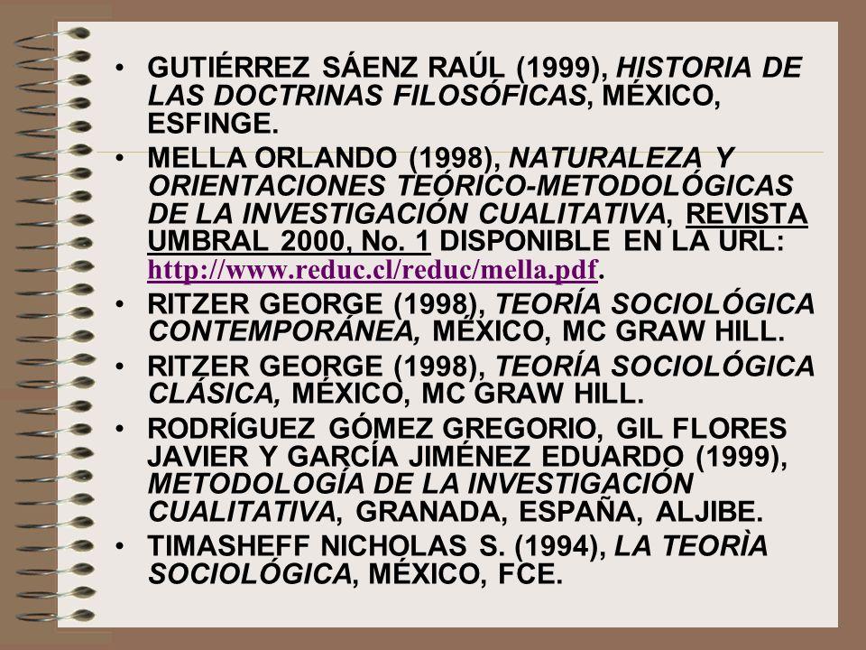 GUTIÉRREZ SÁENZ RAÚL (1999), HISTORIA DE LAS DOCTRINAS FILOSÓFICAS, MÉXICO, ESFINGE.