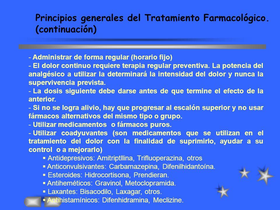 Principios generales del Tratamiento Farmacológico. (continuación)