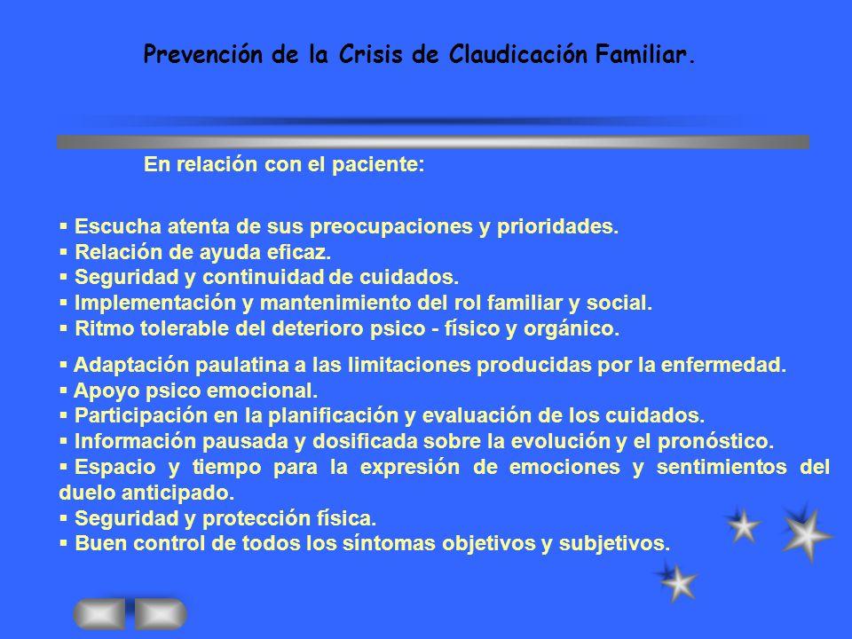 Prevención de la Crisis de Claudicación Familiar.