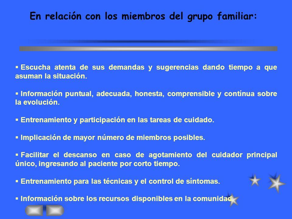 En relación con los miembros del grupo familiar: