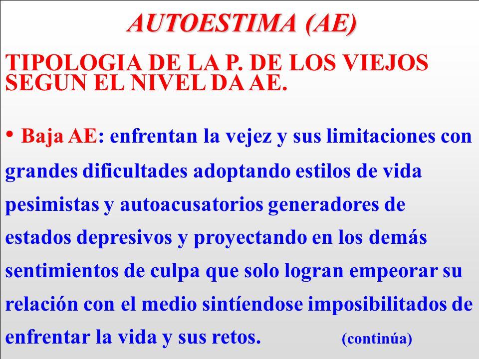 AUTOESTIMA (AE) TIPOLOGIA DE LA P. DE LOS VIEJOS SEGUN EL NIVEL DA AE.