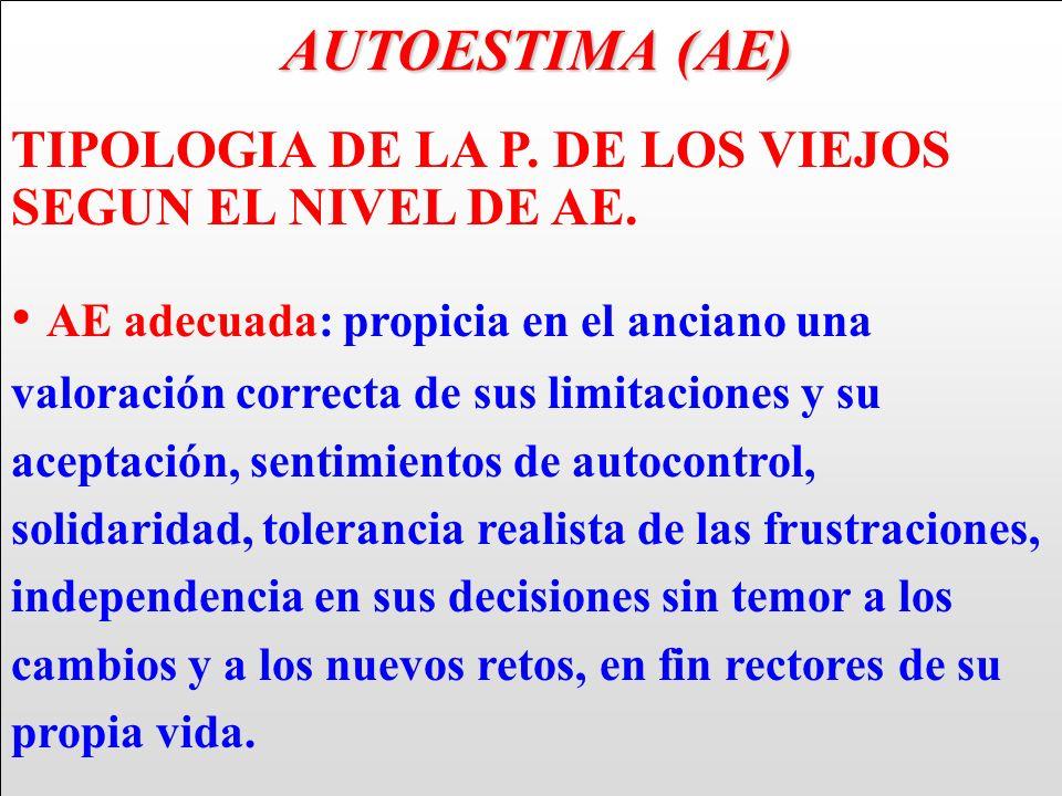 AUTOESTIMA (AE) TIPOLOGIA DE LA P. DE LOS VIEJOS SEGUN EL NIVEL DE AE.
