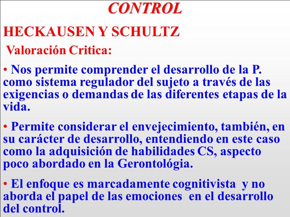 CONTROL HECKAUSEN Y SCHULTZ Valoración Critica: