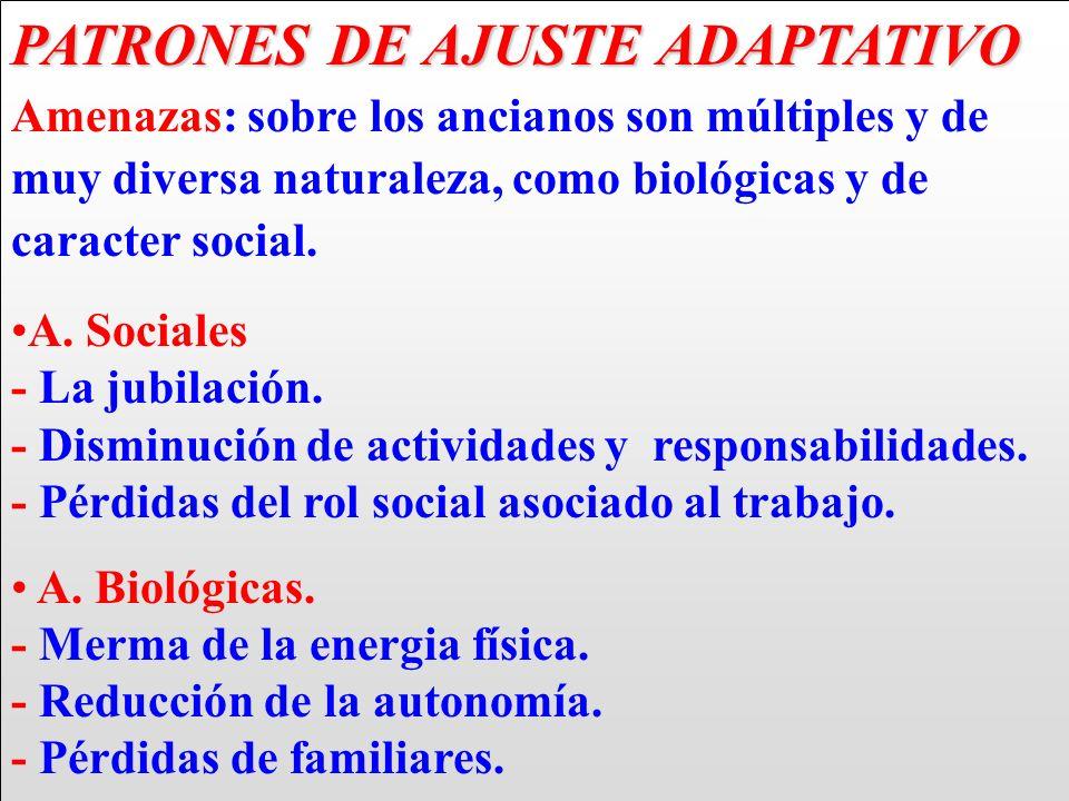 PATRONES DE AJUSTE ADAPTATIVO Amenazas: sobre los ancianos son múltiples y de muy diversa naturaleza, como biológicas y de caracter social.