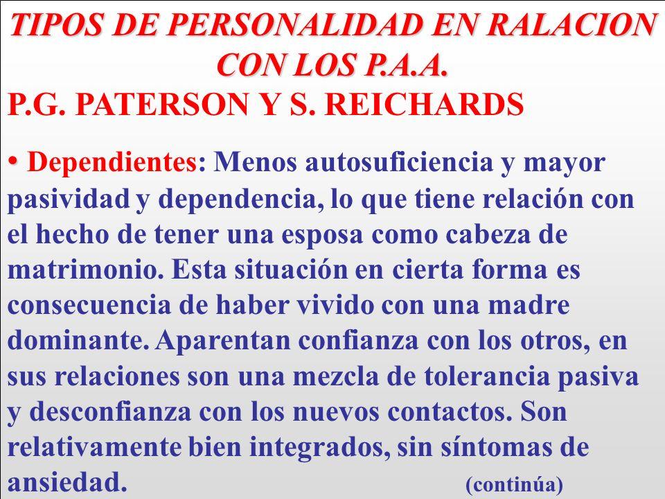 TIPOS DE PERSONALIDAD EN RALACION CON LOS P.A.A.