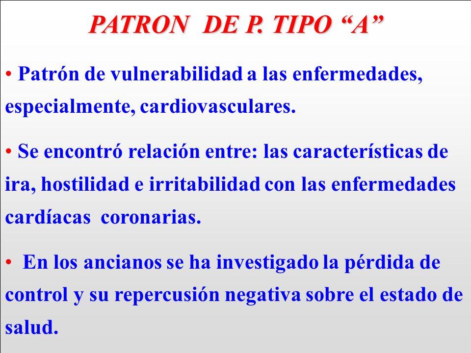 PATRON DE P. TIPO A Patrón de vulnerabilidad a las enfermedades, especialmente, cardiovasculares.