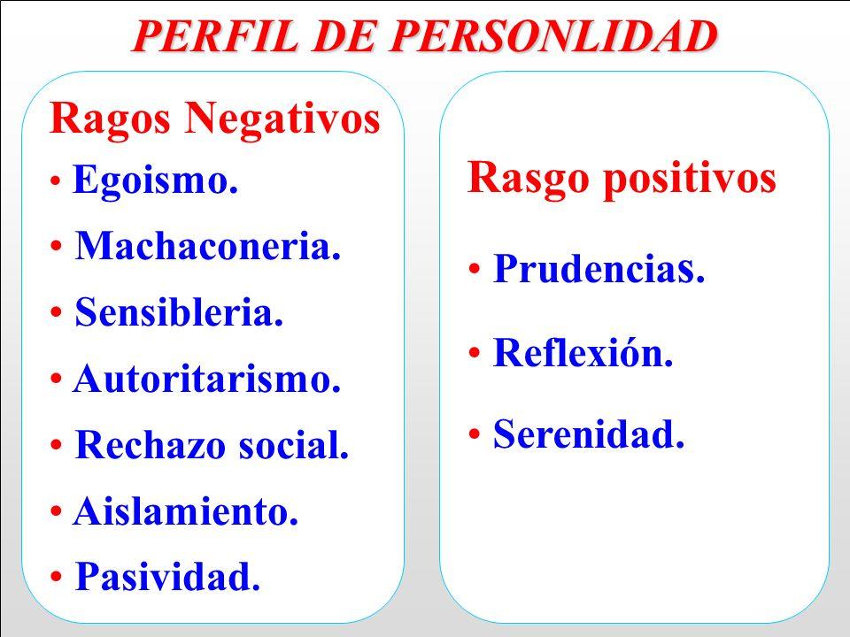 PERFIL DE PERSONLIDAD Ragos Negativos Rasgo positivos Machaconeria.