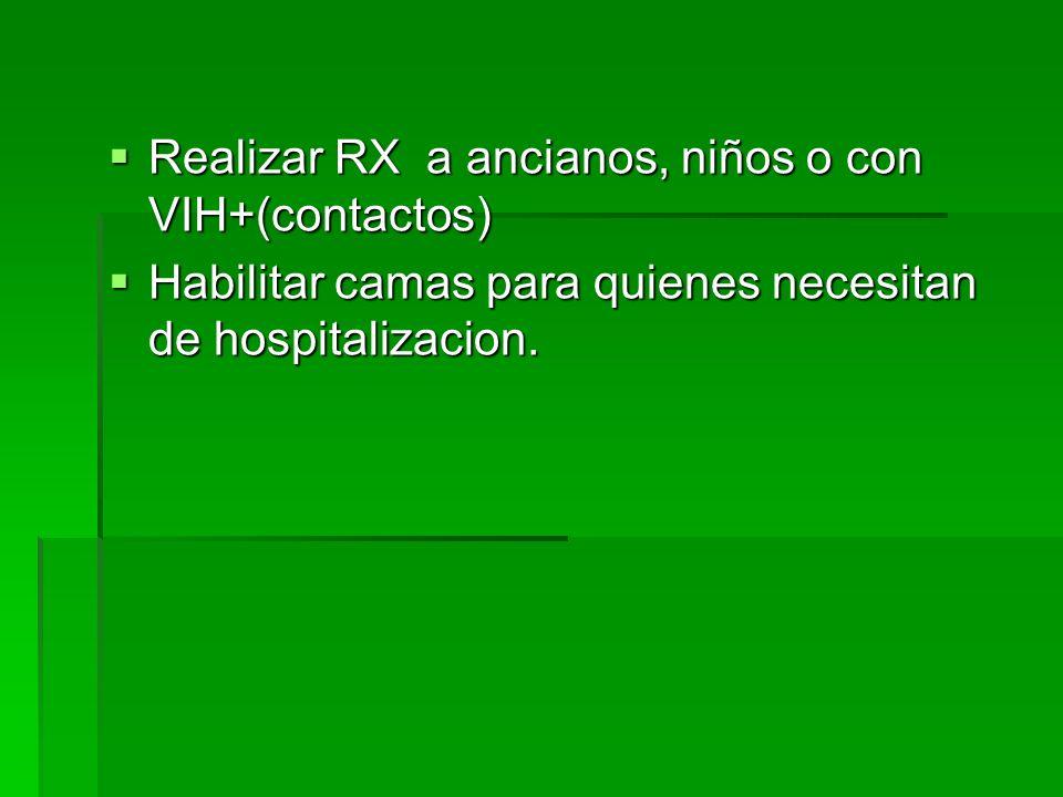 Realizar RX a ancianos, niños o con VIH+(contactos)