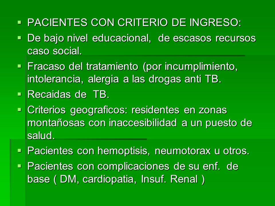 PACIENTES CON CRITERIO DE INGRESO: