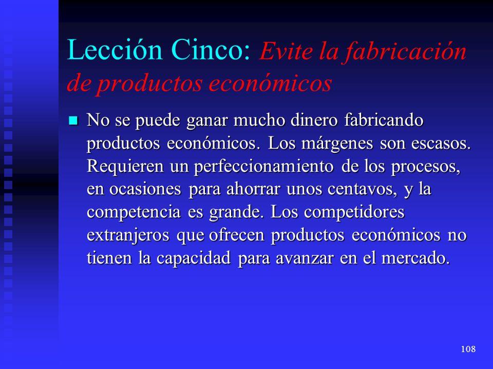 Lección Cinco: Evite la fabricación de productos económicos
