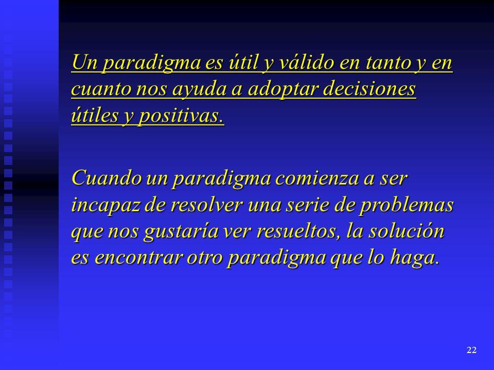 Un paradigma es útil y válido en tanto y en cuanto nos ayuda a adoptar decisiones útiles y positivas.