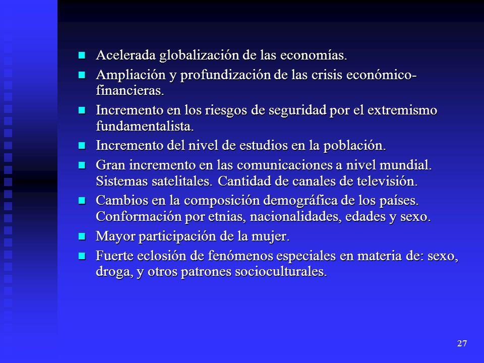 Acelerada globalización de las economías.