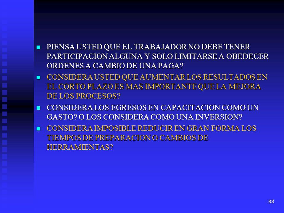 PIENSA USTED QUE EL TRABAJADOR NO DEBE TENER PARTICIPACION ALGUNA Y SOLO LIMITARSE A OBEDECER ORDENES A CAMBIO DE UNA PAGA