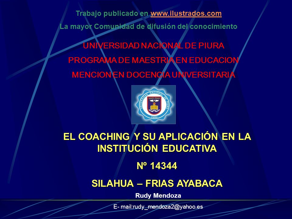 EL COACHING Y SU APLICACIÓN EN LA INSTITUCIÓN EDUCATIVA Nº 14344