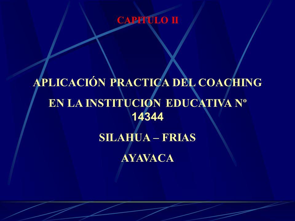 APLICACIÓN PRACTICA DEL COACHING EN LA INSTITUCION EDUCATIVA Nº 14344