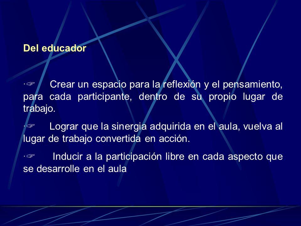 Del educador Crear un espacio para la reflexión y el pensamiento, para cada participante, dentro de su propio lugar de trabajo.