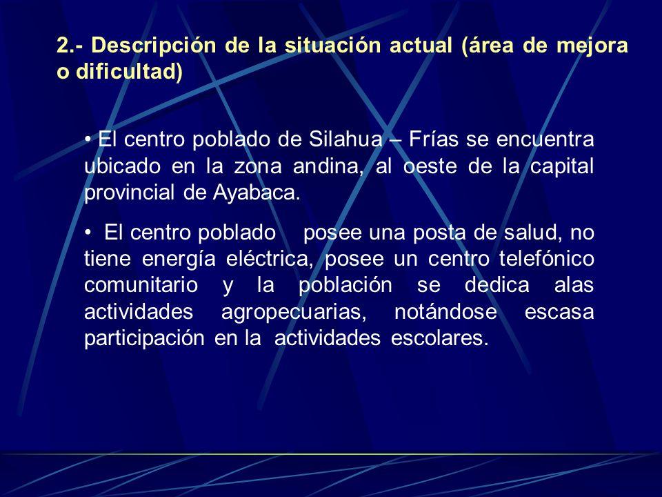 2.- Descripción de la situación actual (área de mejora o dificultad)