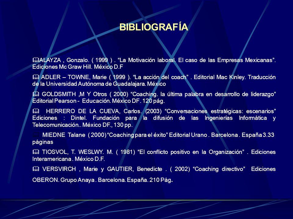 BIBLIOGRAFÍA ALAYZA , Gonzalo. ( 1999 ) . La Motivación laboral. El caso de las Empresas Mexicanas . Ediciones Mc Graw Hill. México D.F.