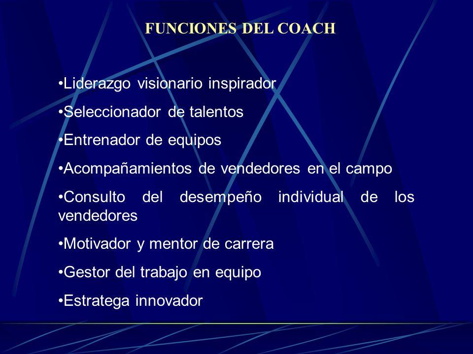 FUNCIONES DEL COACH Liderazgo visionario inspirador. Seleccionador de talentos. Entrenador de equipos.
