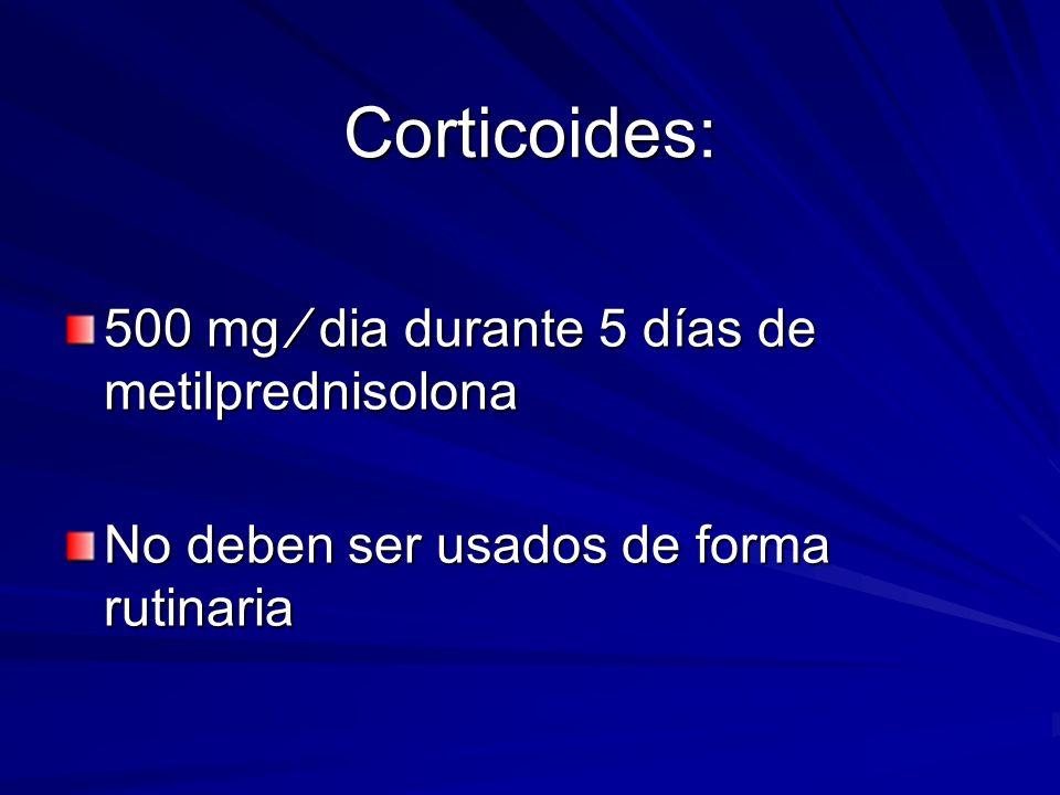 Corticoides: 500 mg ⁄ dia durante 5 días de metilprednisolona