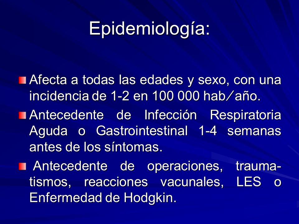 Epidemiología: Afecta a todas las edades y sexo, con una incidencia de 1-2 en 100 000 hab ⁄ año.