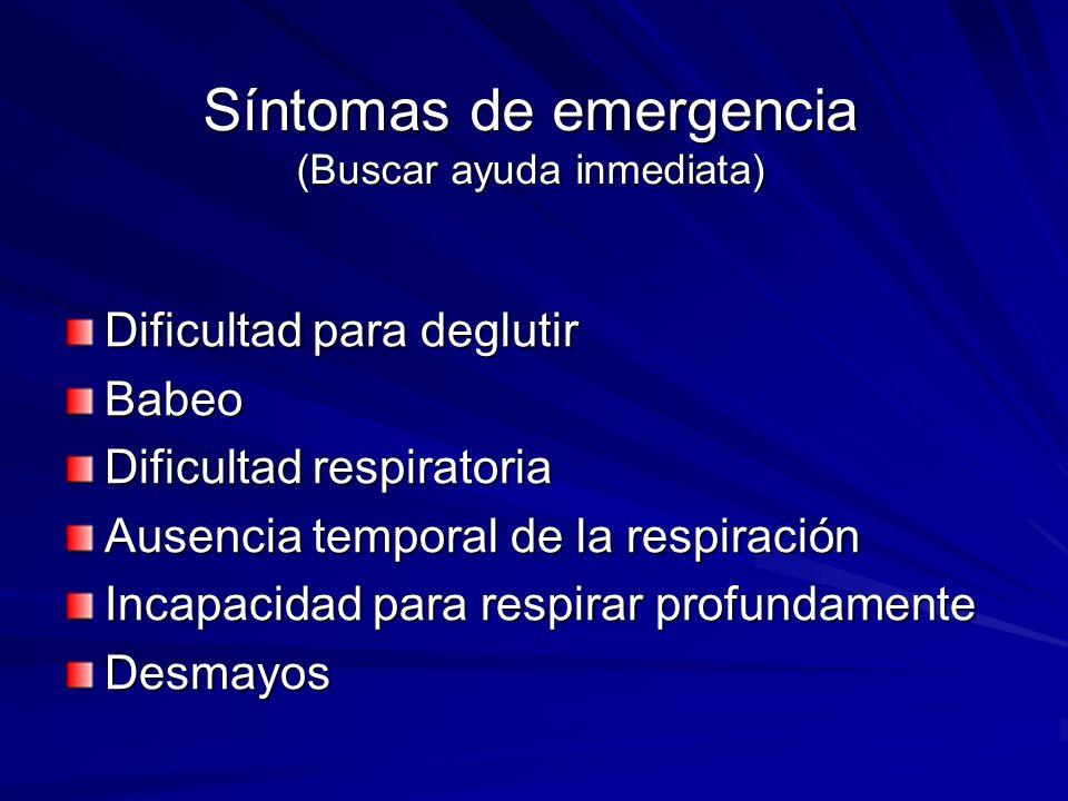 Síntomas de emergencia (Buscar ayuda inmediata)