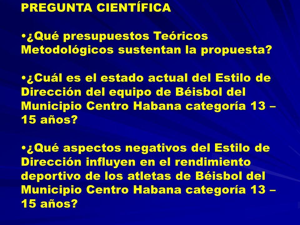 PREGUNTA CIENTÍFICA ¿Qué presupuestos Teóricos Metodológicos sustentan la propuesta
