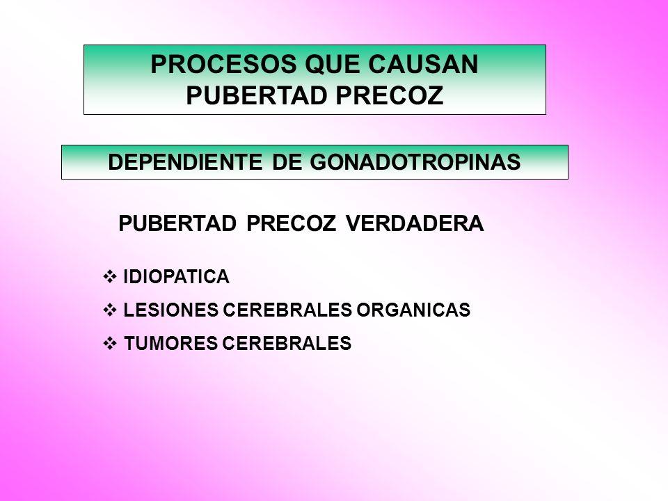 PROCESOS QUE CAUSAN PUBERTAD PRECOZ DEPENDIENTE DE GONADOTROPINAS