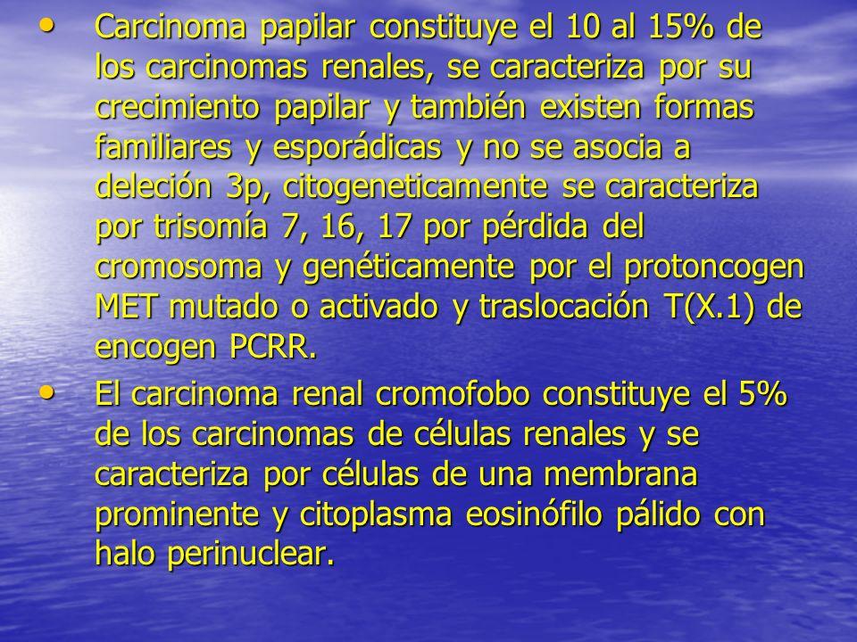 Carcinoma papilar constituye el 10 al 15% de los carcinomas renales, se caracteriza por su crecimiento papilar y también existen formas familiares y esporádicas y no se asocia a deleción 3p, citogeneticamente se caracteriza por trisomía 7, 16, 17 por pérdida del cromosoma y genéticamente por el protoncogen MET mutado o activado y traslocación T(X.1) de encogen PCRR.