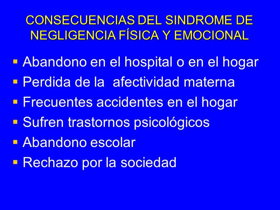 CONSECUENCIAS DEL SINDROME DE NEGLIGENCIA FÍSICA Y EMOCIONAL