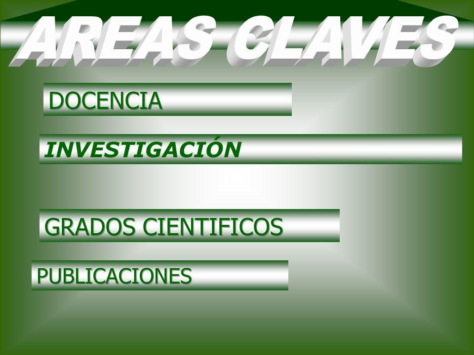 AREAS CLAVES DOCENCIA INVESTIGACIÓN GRADOS CIENTIFICOS PUBLICACIONES