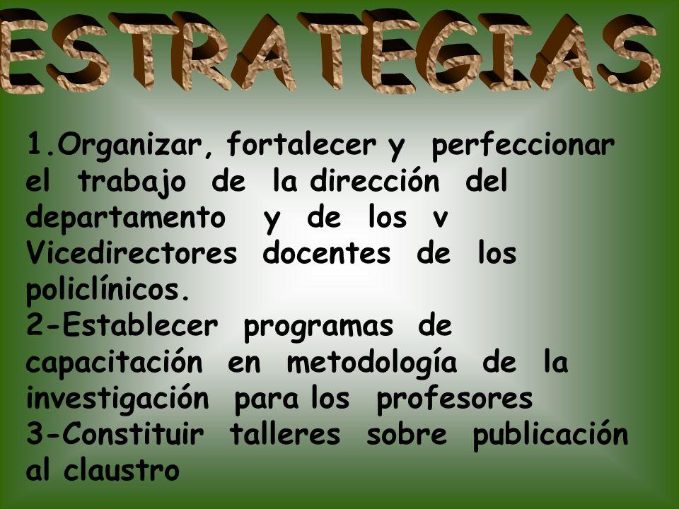 ESTRATEGIAS 1.Organizar, fortalecer y perfeccionar el trabajo de la dirección del departamento y de los v.