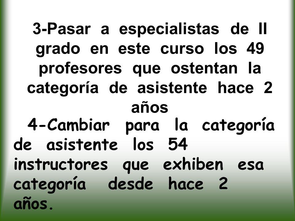 3-Pasar a especialistas de II grado en este curso los 49 profesores que ostentan la categoría de asistente hace 2 años