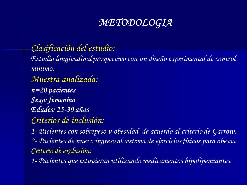 METODOLOGIA Clasificación del estudio: Muestra analizada: