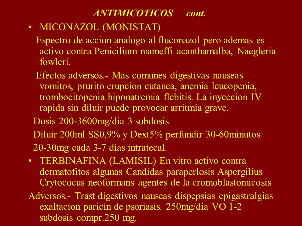 ANTIMICOTICOS cont. MICONAZOL (MONISTAT)