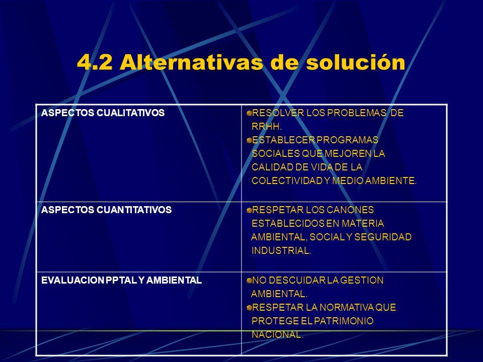 4.2 Alternativas de solución