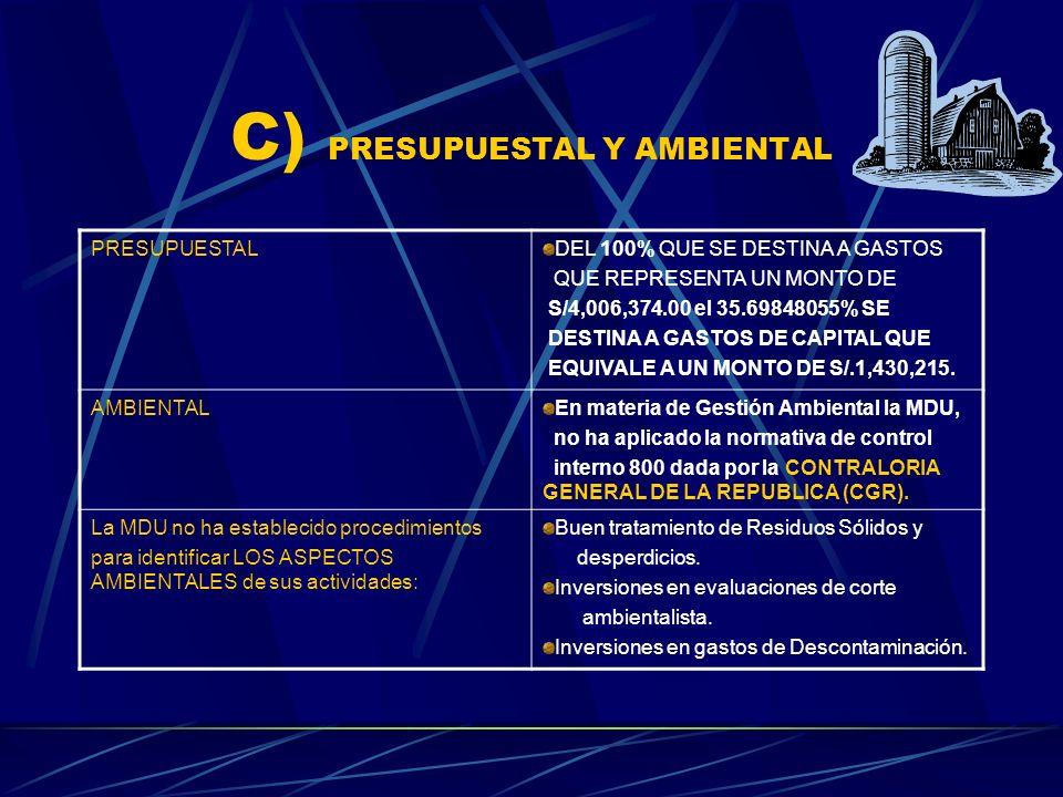 C) PRESUPUESTAL Y AMBIENTAL