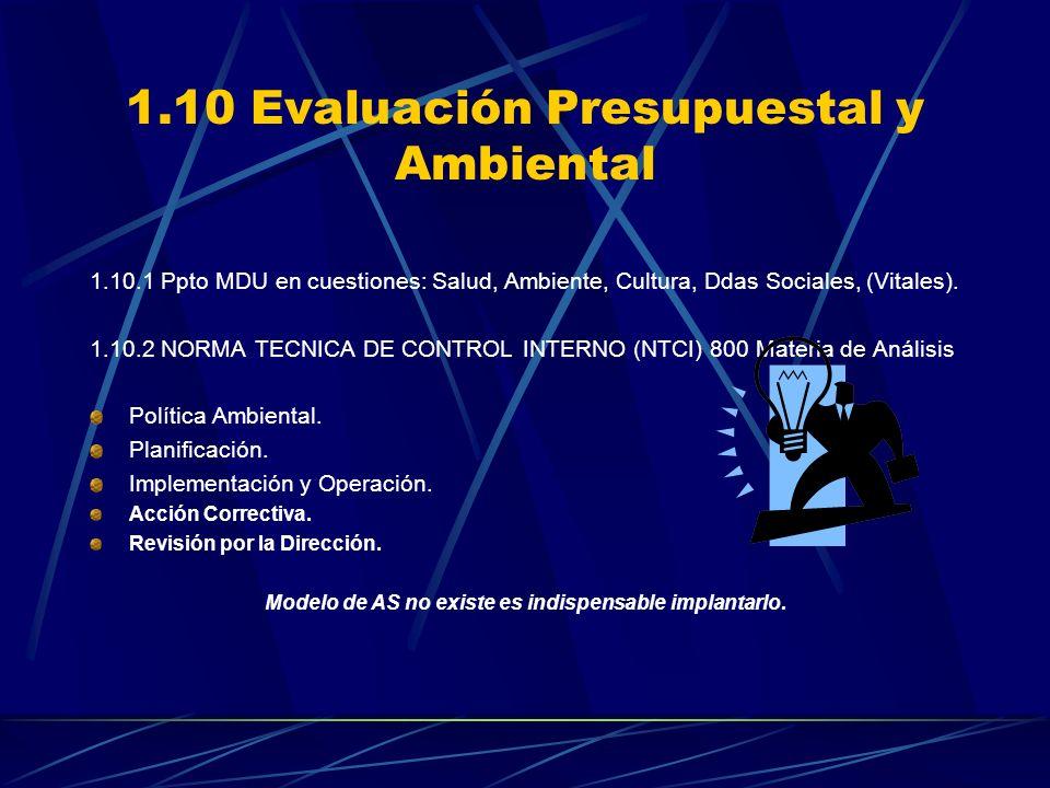 1.10 Evaluación Presupuestal y Ambiental